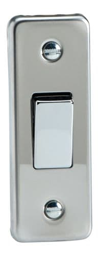 Varilight XCA1D Architrave Mirror Chrome 1 Gang 10A 1 or 2 Way Rocker Light Switch 87mm x 32mm
