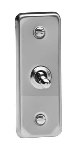 Varilight XCAT1 Architrave Mirror Chrome 1 Gang 10A 1 or 2 Way Toggle Light Switch 87mm x 32mm