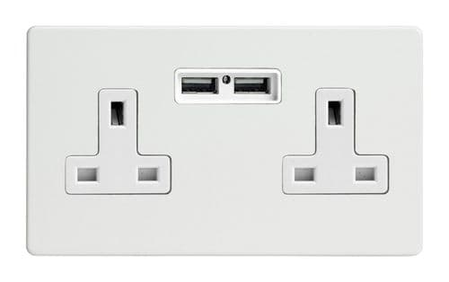 Varilight XDQ5U2WS Screwless Premium White 2 Gang Double 13A Unswitched Plug Socket 2.1A USB