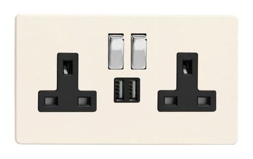 Varilight XDY5U2SBS.PD Screwless Primed 2 Gang Double 13A Switched Plug Socket 2.1A USB