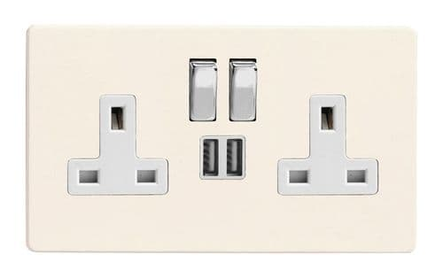 Varilight XDY5U2SWS.PD Screwless Primed 2 Gang Double 13A Switched Plug Socket 2.1A USB
