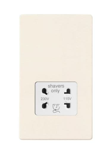 Varilight XDYSSWS.PD Screwless Primed Dual Voltage Shaver Socket 240V/115V