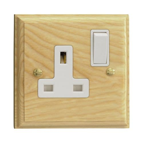 Varilight XK4AW Kilnwood Ash 1 Gang 13A DP Single Switched Plug Socket