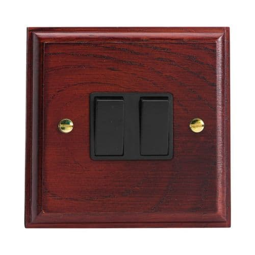 Varilight XK77MB Kilnwood Mahogany 2 Gang 10A Intermediate Rocker Light Switch