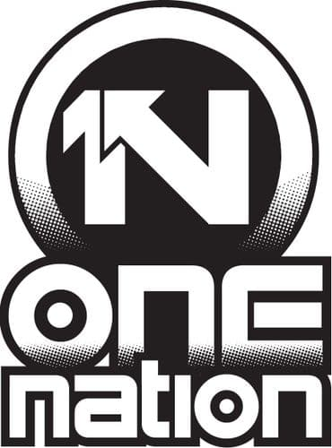 One Nation - Classic Logo Black- On A White T-Shirt
