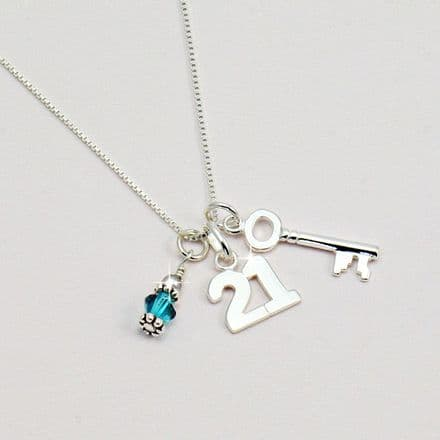 21st Birthday Silver Necklace with Birthstone
