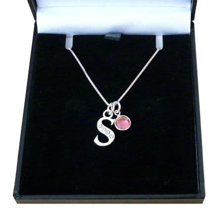 925 Sterling Silver Letter and Birthstone Necklace.