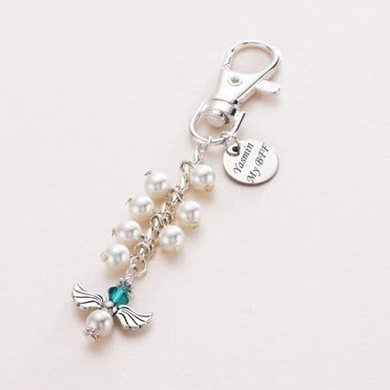 Angel Birthstone Bag Charm with Engraving