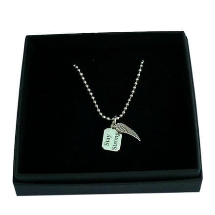 Angel Wing Necklace with Engraving