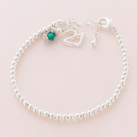 Beaded Birthstone Bracelet with 21 Charm