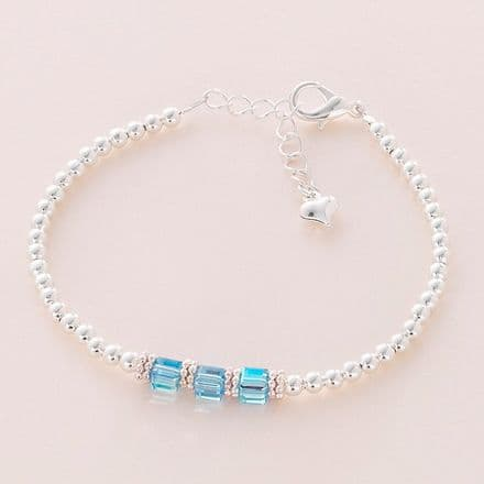 Beaded Birthstone Bracelet with Crystal Cubes