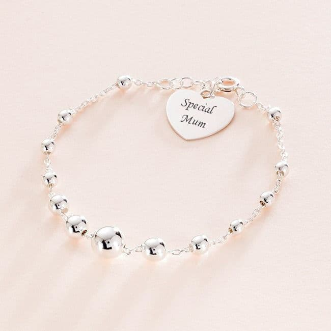 Beaded Silver Bracelet with Engraved Heart | Charming Engraving