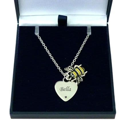 Bee Necklace with Engraved Heart Pendant