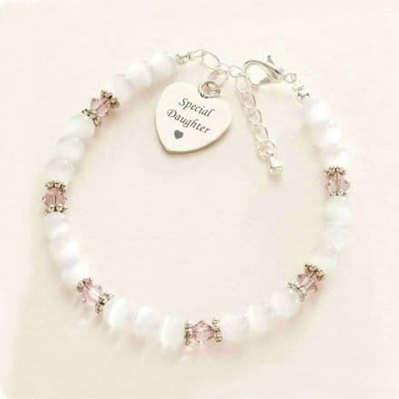 Birthstone and Cats Eye Bracelet with Engraved Heart