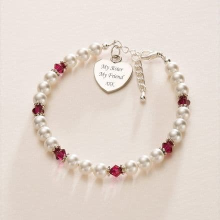 Birthstone and Pearl Bracelet with Engraved Heart