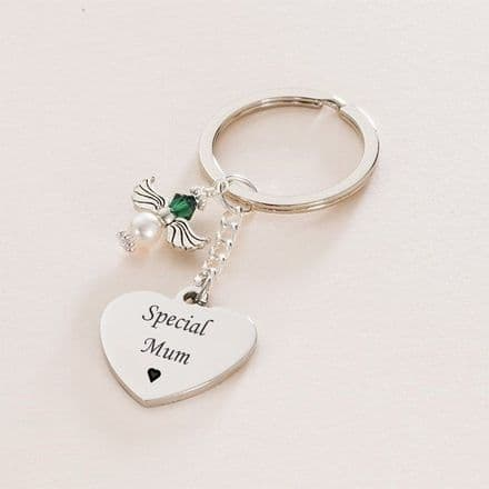 Birthstone Angel Key Ring with Engraving
