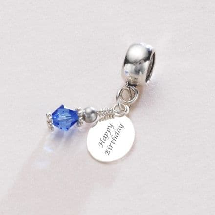 Birthstone Charm Sterling Silver fits Pandora, Any Engraving