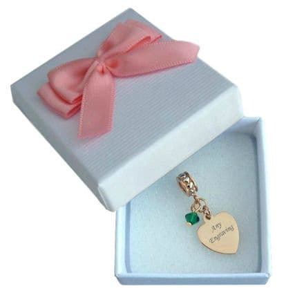 Birthstone Charm with Engraving in Rose Gold