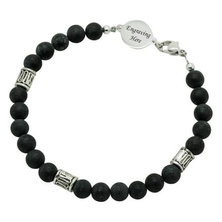 Blackstone Bracelet with Engraved Link for Man or Boy