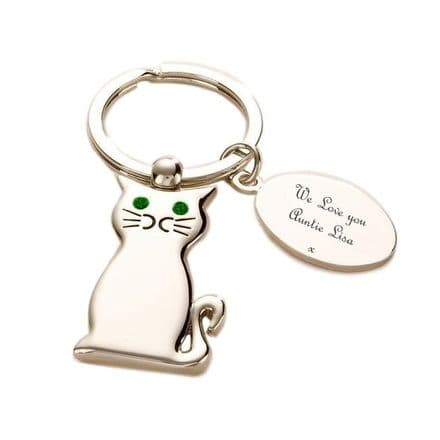 Cat Key Ring with Engraving