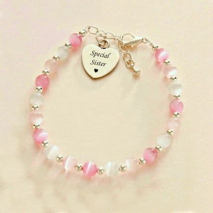 Cats Eye Bracelet with Engraved Heart
