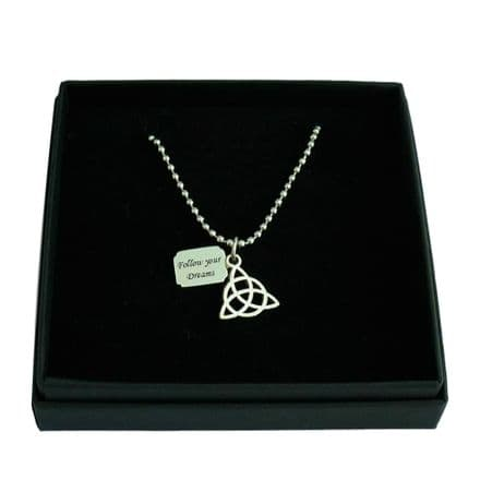Celtic Knot Necklace with Engraved Tag