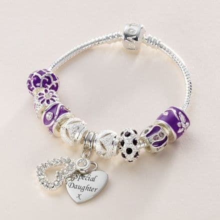 Charm Bead Bracelet with Engraved Charm in purple