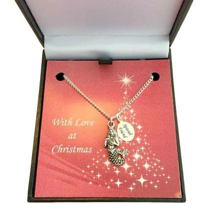 Christmas Necklace with Mermaid Charm for Girls, Granddaughter, Sister etc
