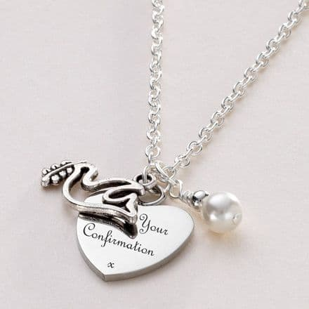 Confirmation Day Necklace with Dove & Engraving
