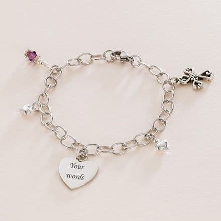 Cross of Hearts, Birthstone and Engraved Heart Steel Bracelet