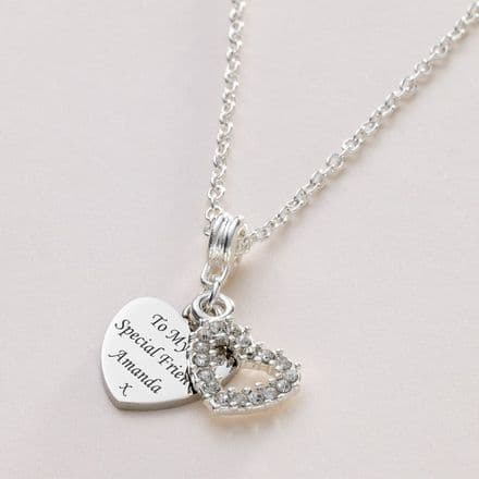 Crystal Heart Necklace with Personalised Engraving