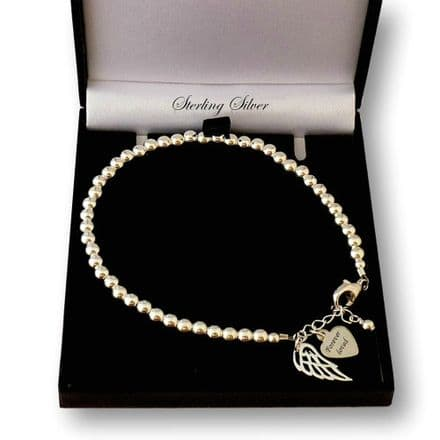Delicate Silver Beads Bracelet with Engraving and Angel Wing