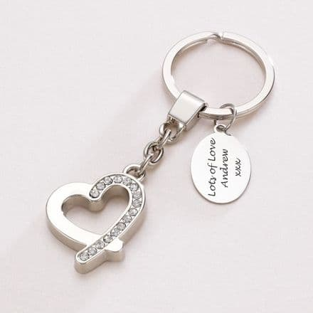 Diamonte Heart Key Ring with Engraving