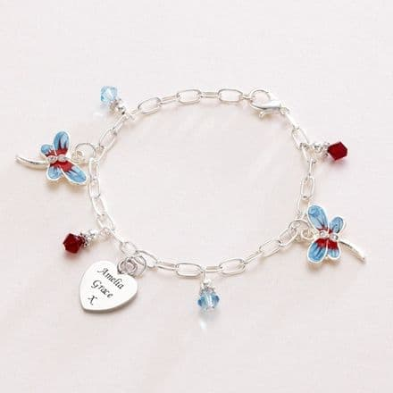 Dragonfly Bracelet with Engraved Heart Charm