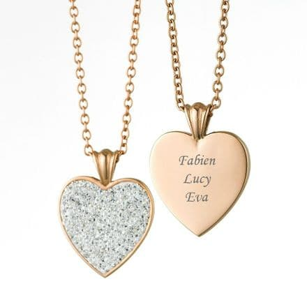 Engravable Heart Necklace with Crystals, Rose Gold