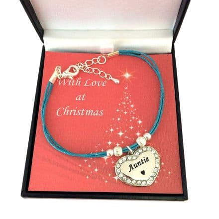 Engraved Bracelet for Christmas, Turquoise Cord