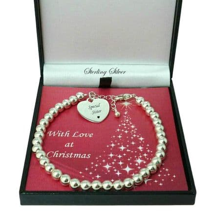 Engraved Bracelet for Christmas with Sterling Silver Beads