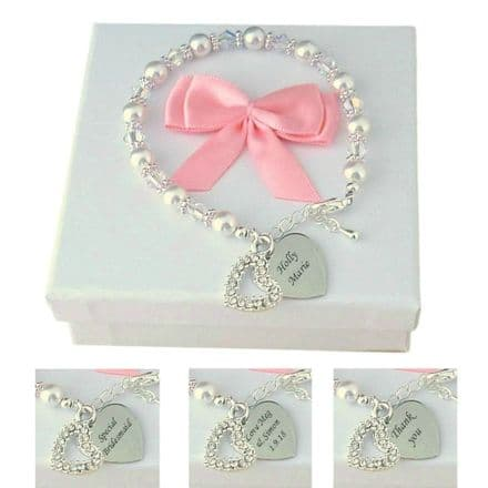Engraved Bracelet with Pearls and Crystals