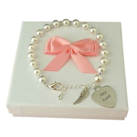 Engraved Bracelet with Pearls, Crystals and Angel Wing Charm