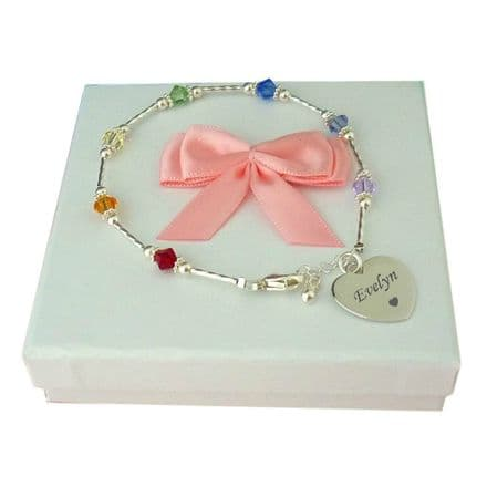Engraved Bracelet with Rainbow Crystals