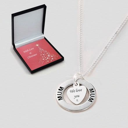 Engraved Christmas Necklace for Mum, Sister etc