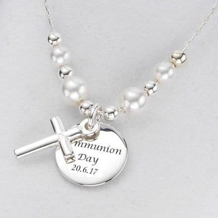 Engraved Disc Pendant with Cross Necklace