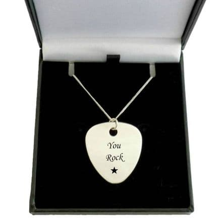 Engraved Guitar Pick, Plectrum on Sterling Silver Necklace Chain
