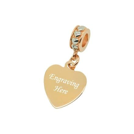 Engraved Heart Charm, Rose Gold & Silver