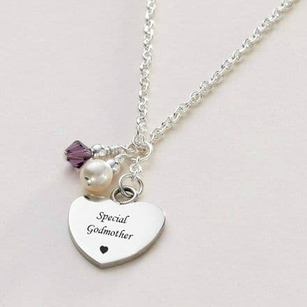 Engraved Heart Necklace with Birthstone and Pearl