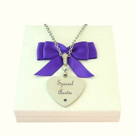 Engraved Heart Necklace with Larger Heart