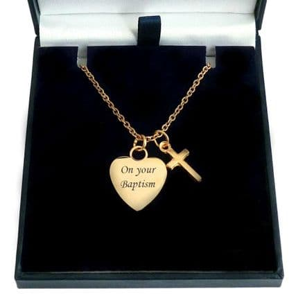 Engraved Heart With Cross Necklace, Rose Gold