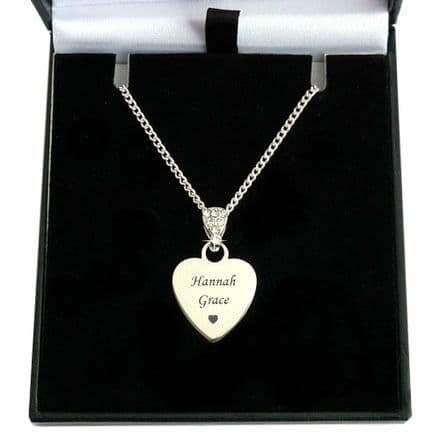 Engraved Heart with Crystal Bail  Necklace