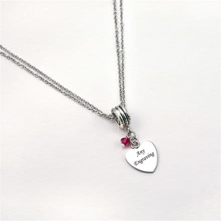 Engraved Ladies Necklace with Birthstone