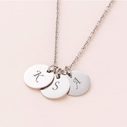 Engraved Letter Discs on Necklace